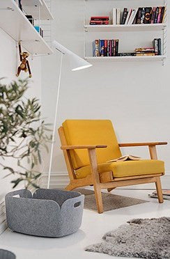 Yellow Armchair In White Modern Living Space