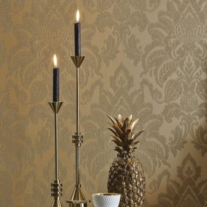 Gold Damask Wallpaper, Gold Pineapple And Candles