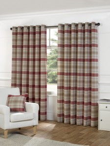 Beige and red checked eyelet curtains