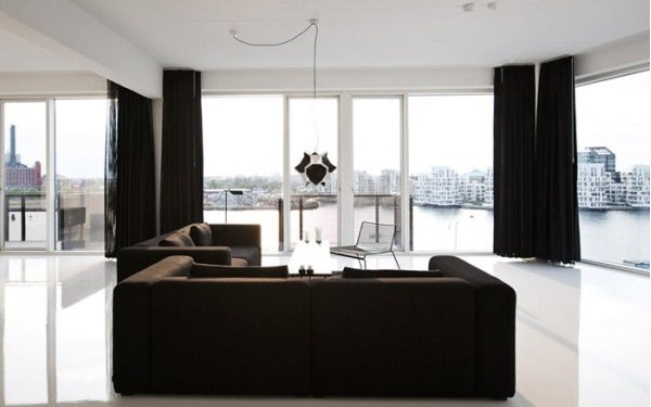 Black sofa and black curtains ideas Terrys Fabricss Blog