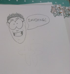Doodle of a man with glasses saying smashing