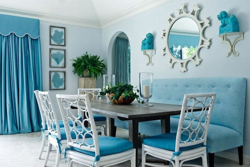 turquoise dining room with lovely blue chairs 500 333