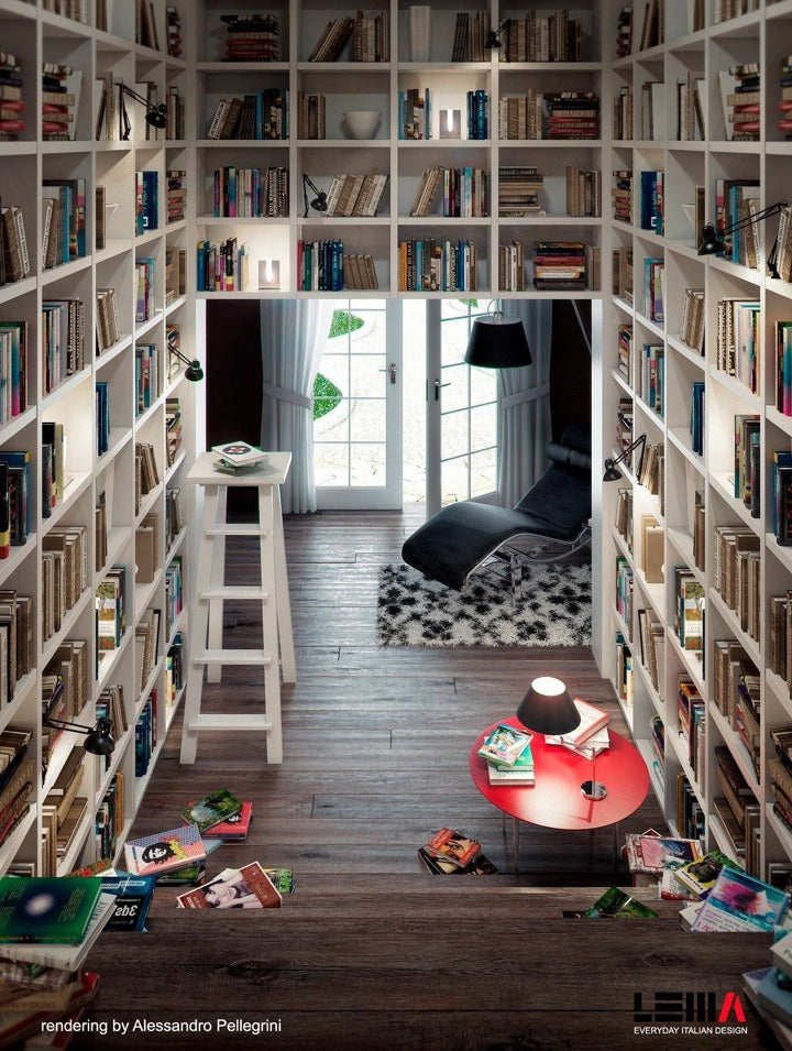 Large home library, floor to ceiling white book shelves