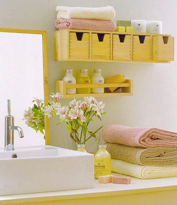 Yellow Themed Bathroom Sink, White Sink And Yellow Accessories