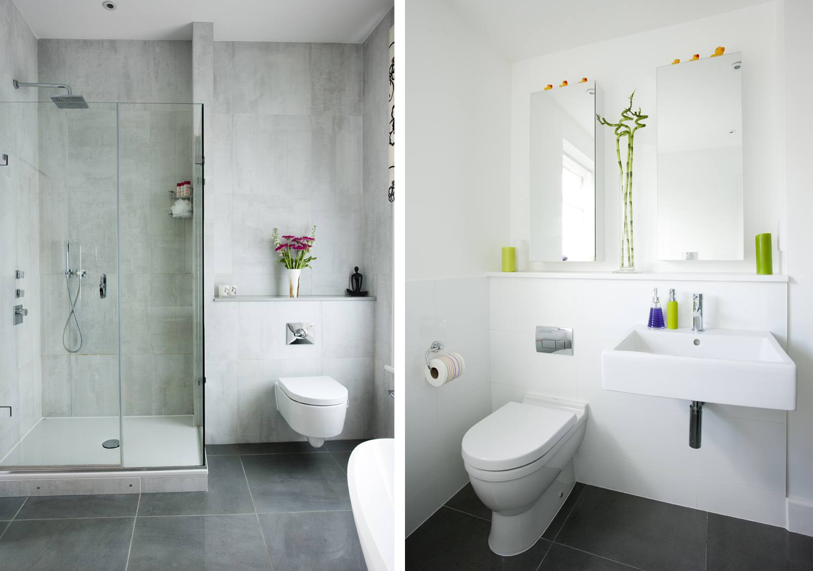 Tow small bathroom tiled with white wall tiles and grey floor tiles
