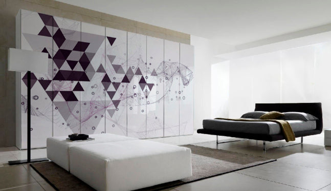 Luxury bedroom interior with double bed and modern, funky and geometric purple wall art