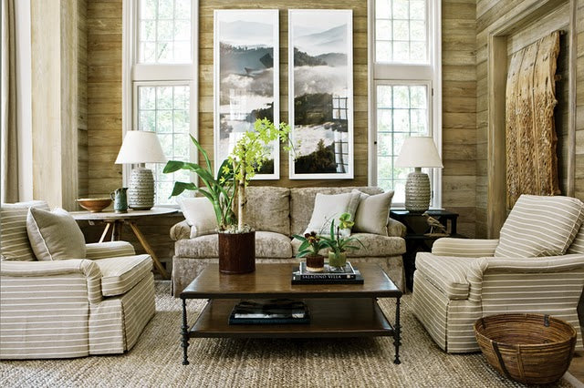 Natural fibres used throughout a living room