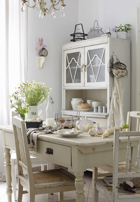 Cream and white French country kitchen