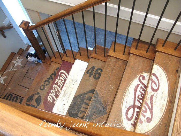 Urban rustic wooden staircase made from classic branded wooden crates, such as Coca Cola