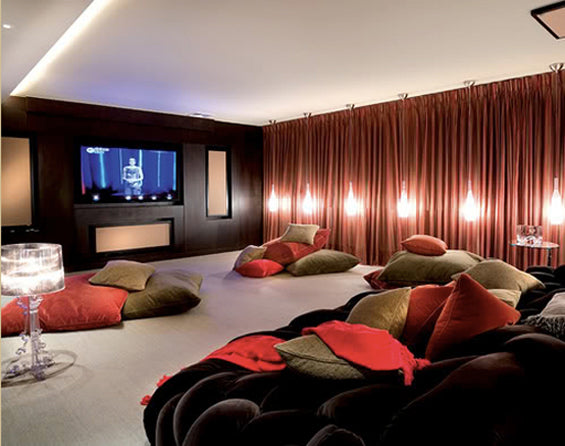 Media room with lots of cushions and bean bags