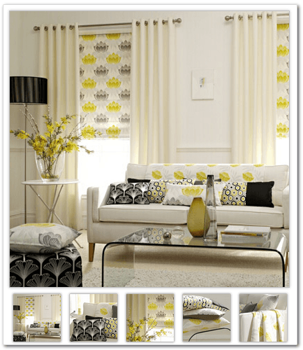 Yellow, grey and white Great Gatsby style suggestions for the living room