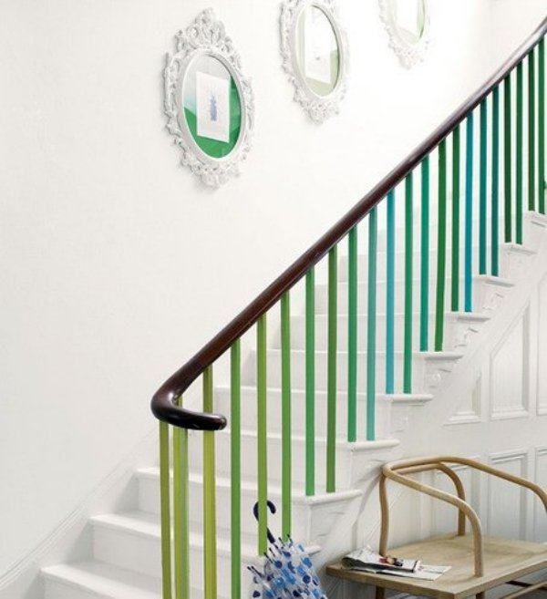Inspiration green painted banisters