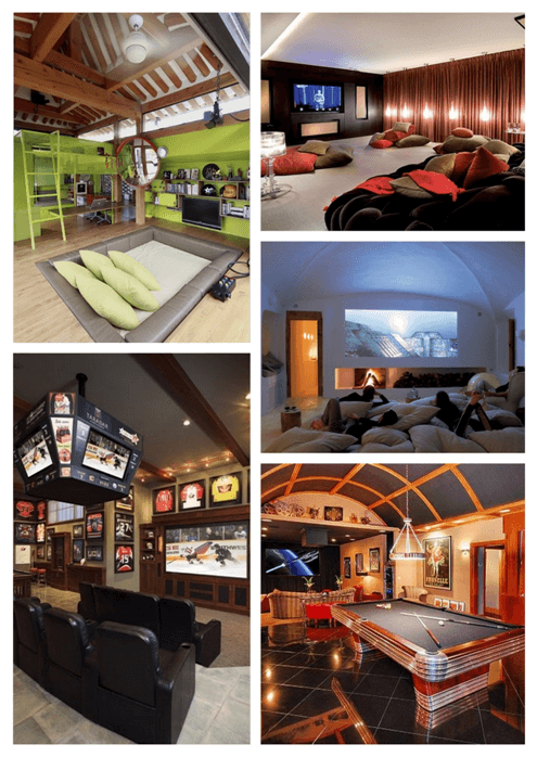 Collage of five different den style rooms