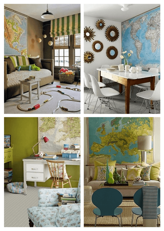 A second collage of maps used to decoate the home