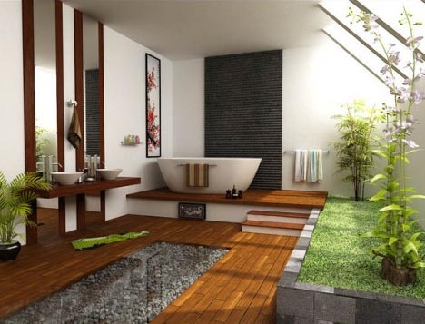 Bathtub on a raised platform, with wooden decking and raised artificial lawn and plants