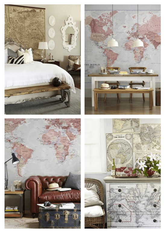 Collage of maps being used to decorate the home