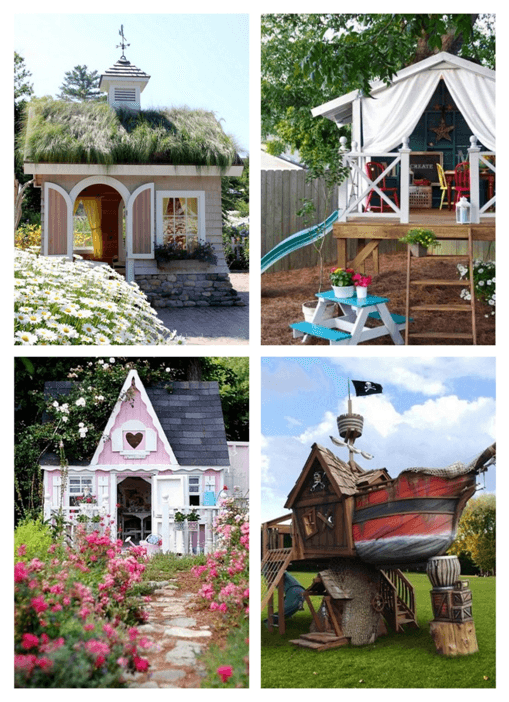 Collage of childrens playhouses in a garden