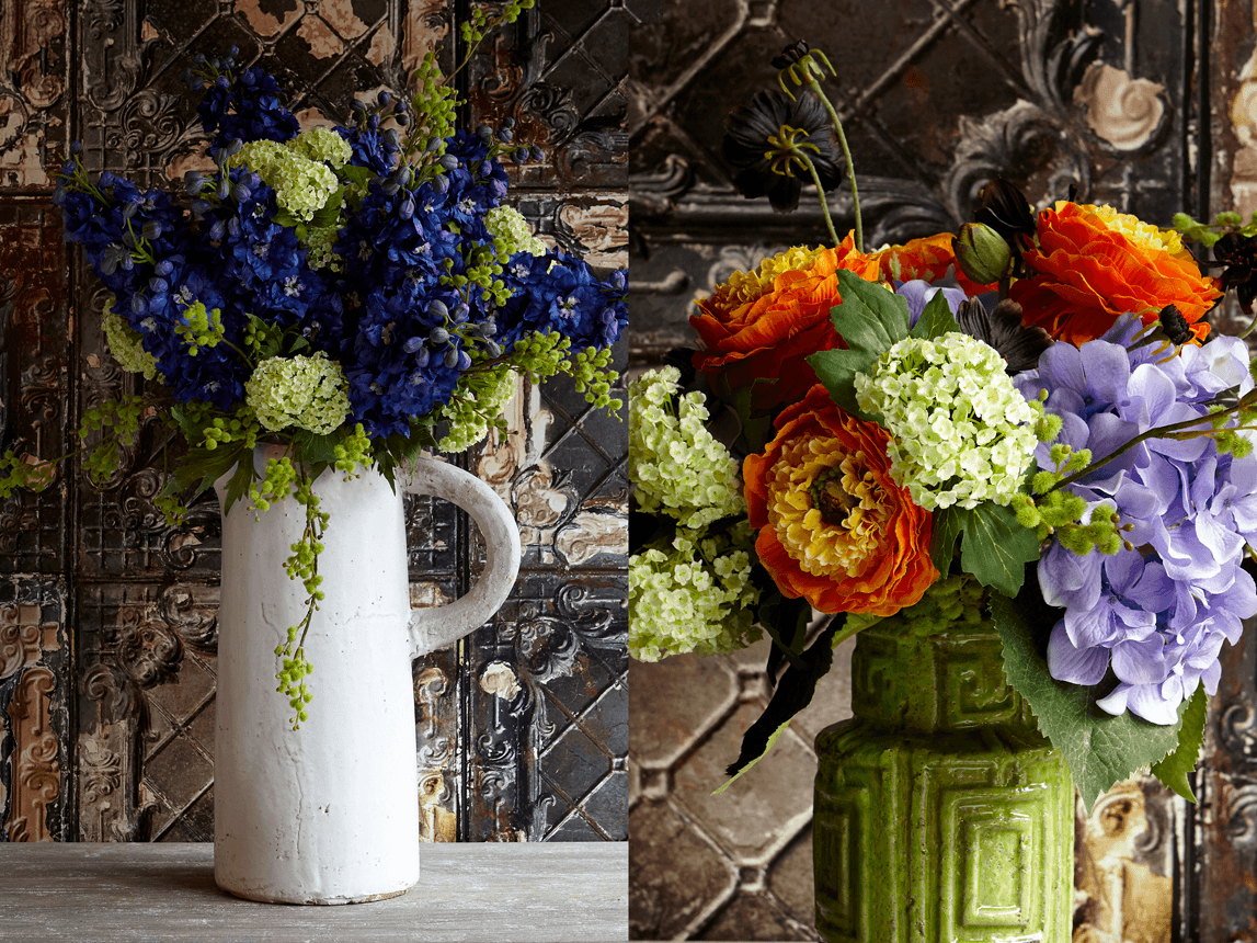 Two different photos of flowers in a vase
