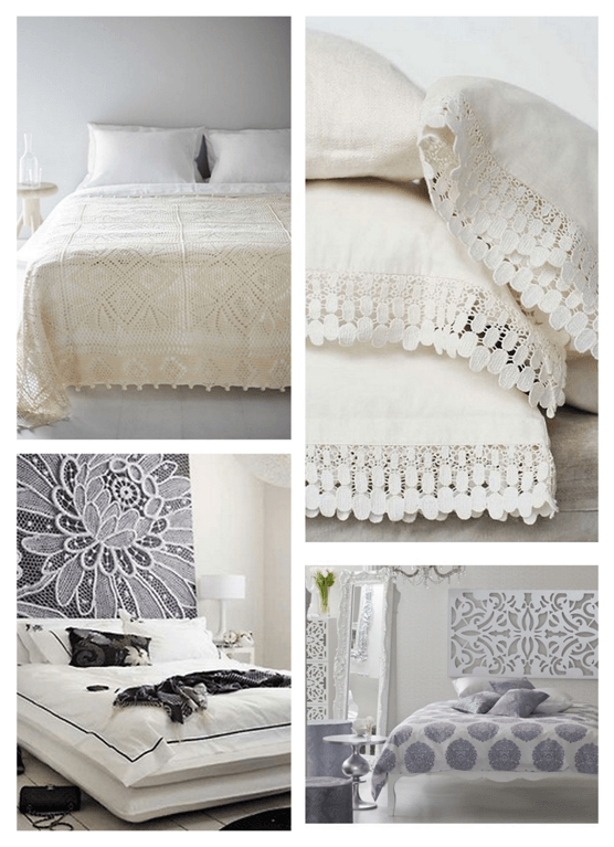 Collage of white bedding and accessories