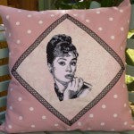 DIY fabric audrey hepburn cushion made by a customer