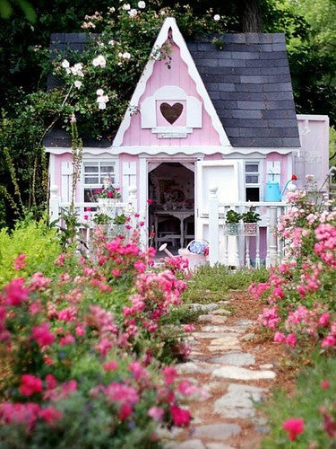 A pink country house playhouse