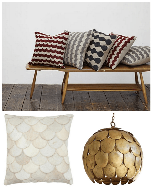 Wavy pattern on beige cushions, and a gold feathered design lamp shade