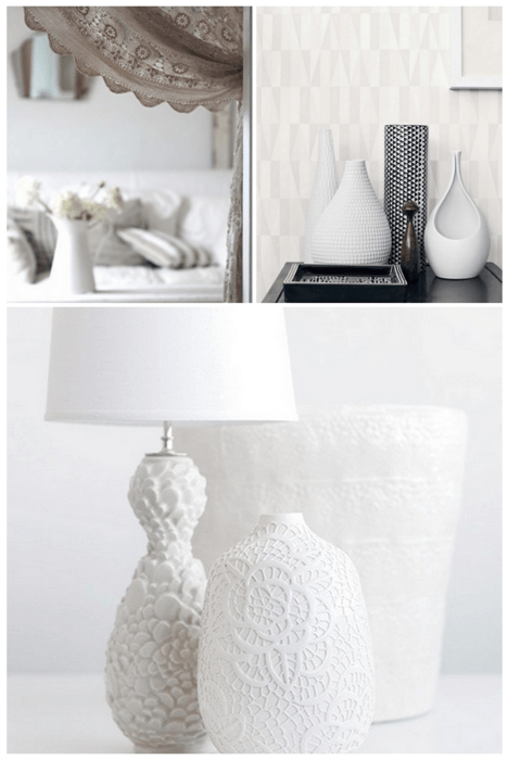 White ceramic vases and lampshades, with a unusual textured pattern