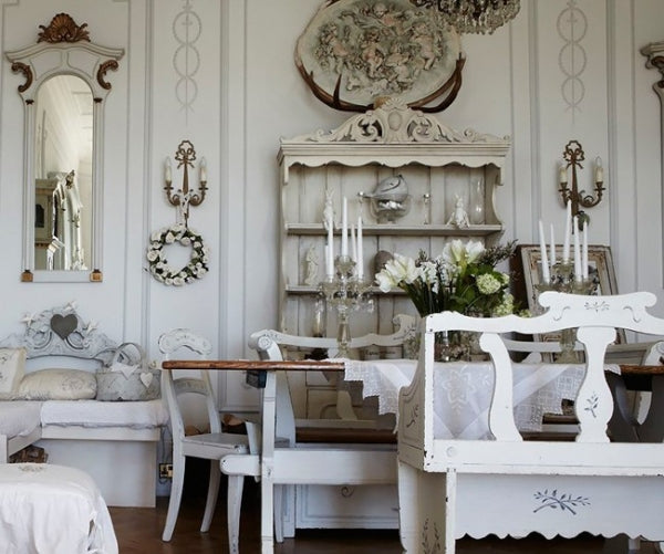 Vintage cream dining room with traditional cabinets, tables and dining table chairs