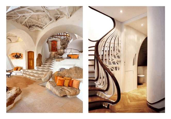 Collage of two different funky staircases
