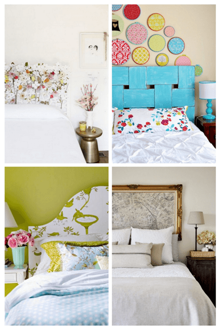 Collage of DIY headboards in different styles