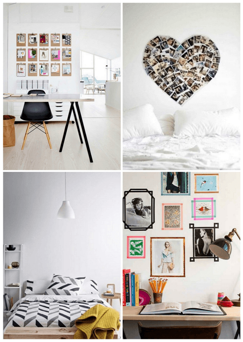 Collage of different white and black bedroom designs