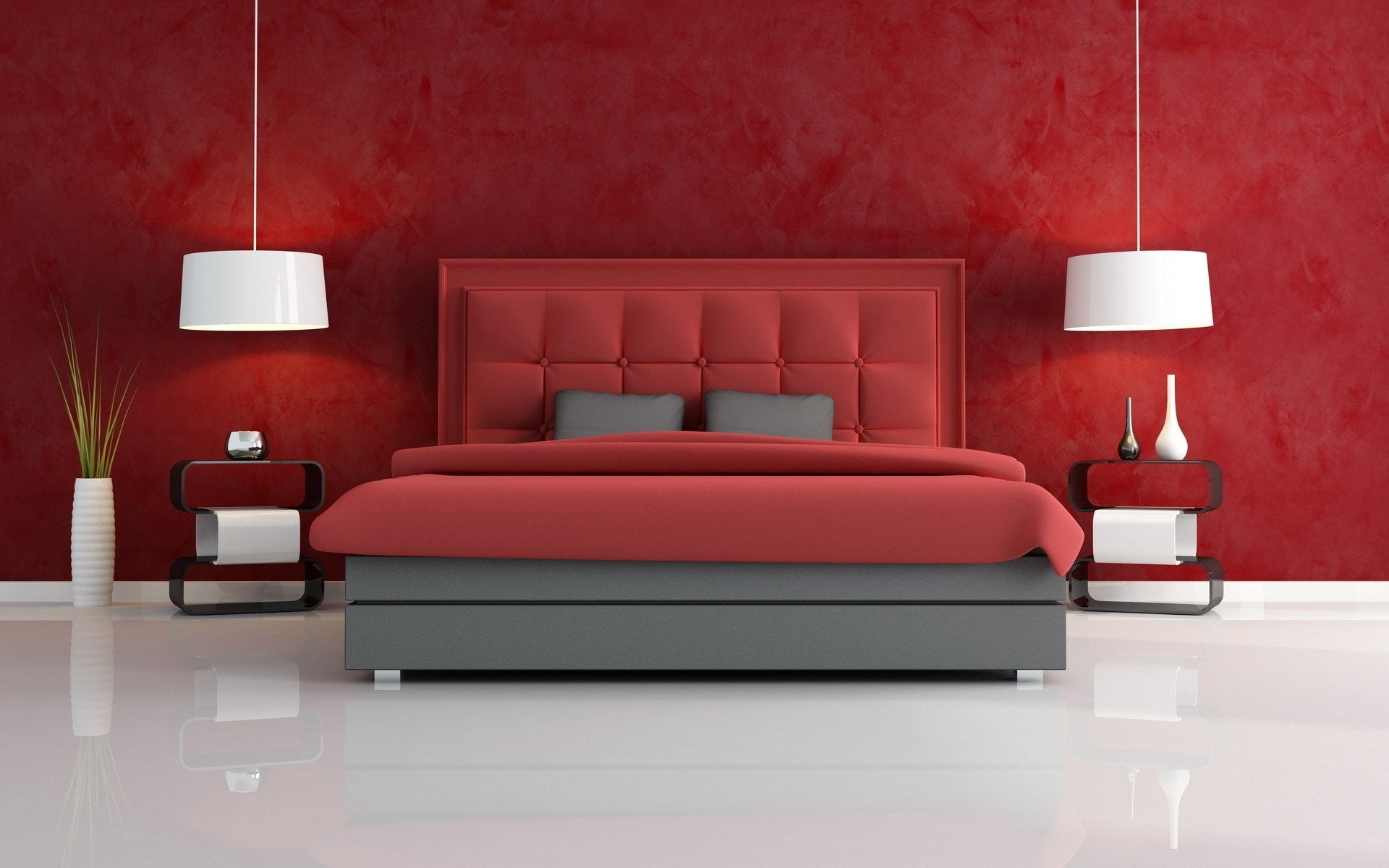 Bedroom color ideas grey and red - Black