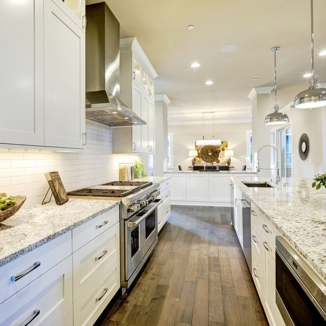White and wooden floors allow for shades of brown to soften the look.