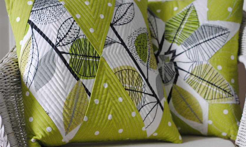 Green and white floral fabric used to make cushions