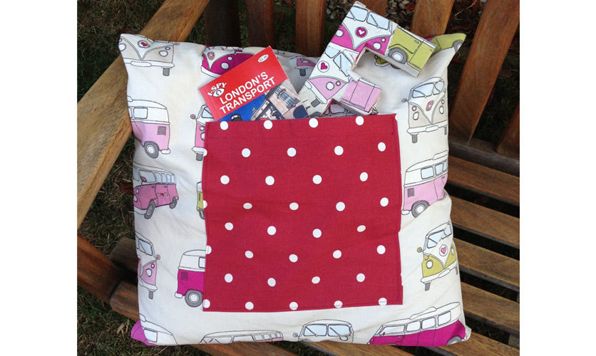 Campervan fabric used to make a cushion