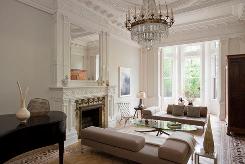 Cream and beige living room with Victorian moulded ceiling
