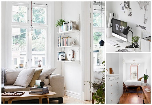 Collage of white living room, white office and white bedroom