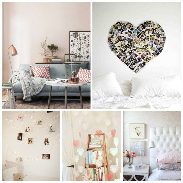 Collage of heart and love themed interiors
