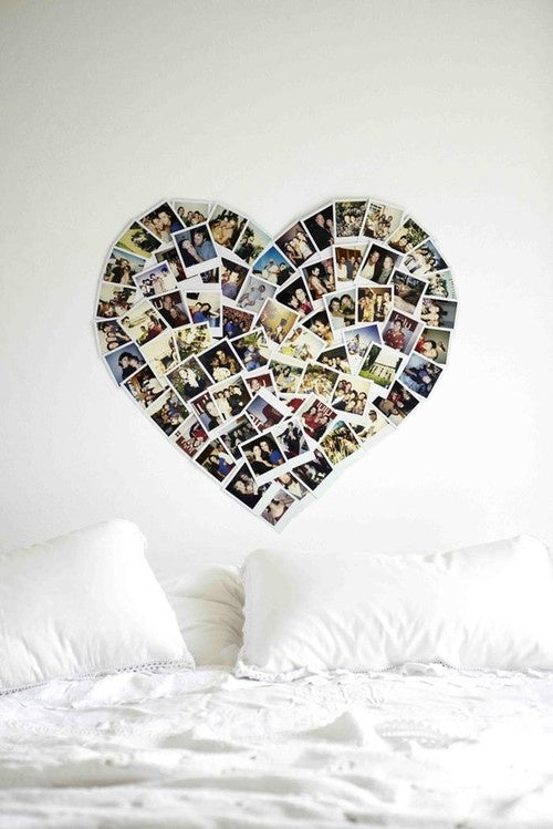 Collage of personal photos making the shape of heart