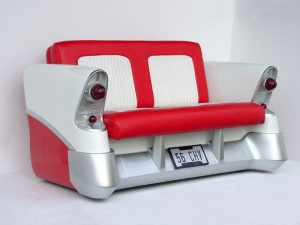 A red, cream and silver sofa made to look like the back of a car