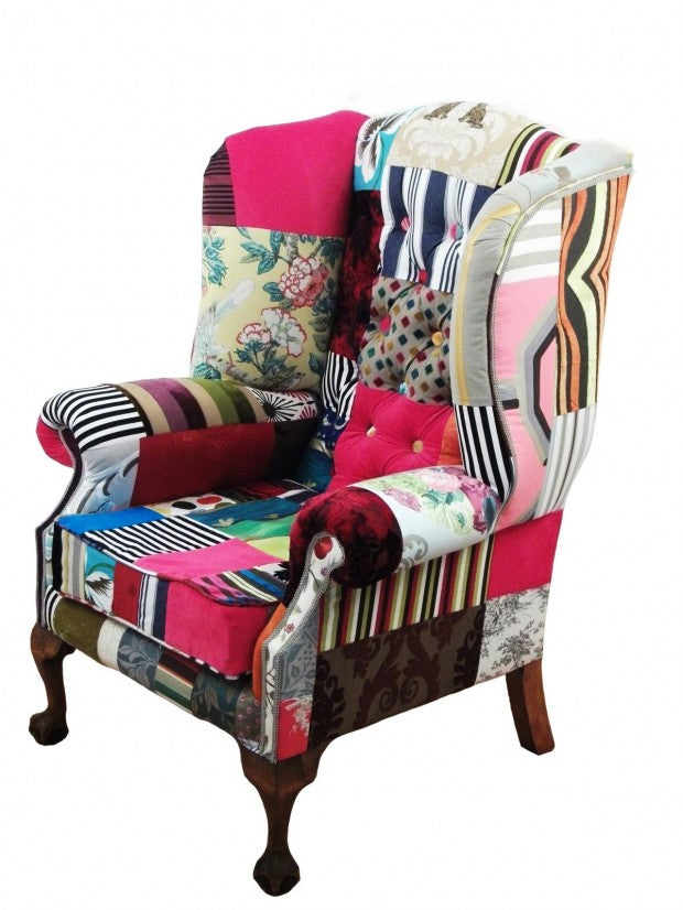 Patchwork wingback chair