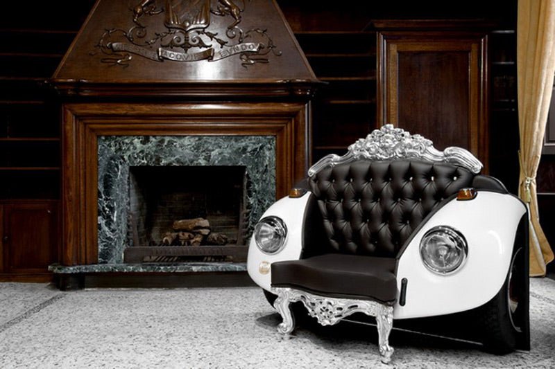 Black and white arm chair made to look like the front of a white car