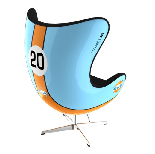 Light blue and orange swivel chair in the style of a racing car