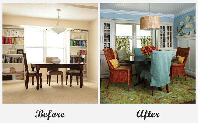 Before a light cream dining room, after it's light blue with a green rug
