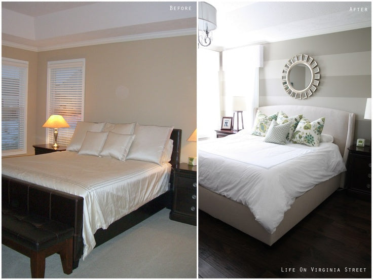 Before a plain cream bedroom, after there are grey and beige stripes on the wall and it's brighter