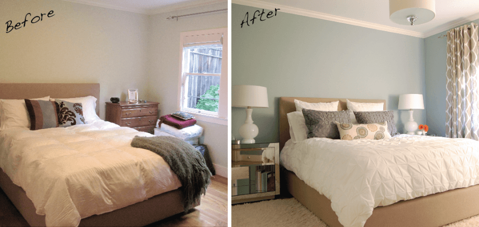 Plain cream bedroom as a before image, and a classy duck egg blue bedroom as the after image