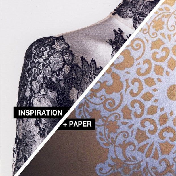 The shoulder of an intricate black lace dress and right a similar design of wallpaper in beige and light blue