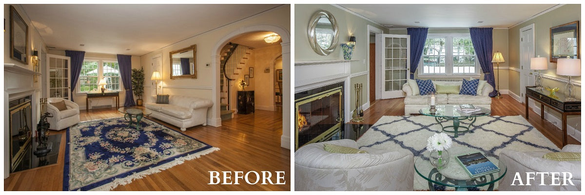 Same cream room before and after, but with a new white rug and the sofa is now in front of the window