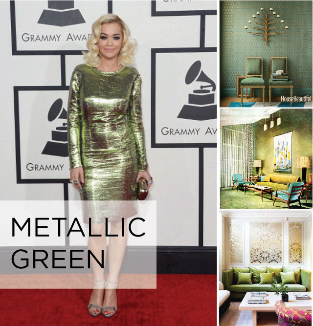 Rita Ora in a shiny metallic green dress, and right a collage of similar colours used in a hall and living rooms