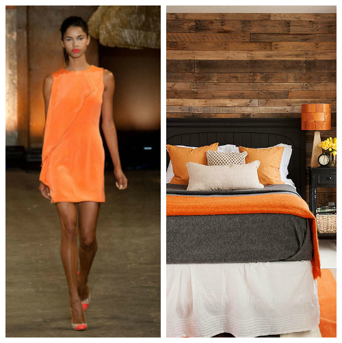 Model wearing orange, then a white and grey bed with orange throw and cushion accessories